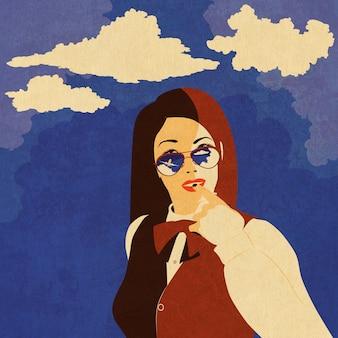 Retrato de uma menina em óculos de sol com avião reflexivo e plano de fundo texturizado de céu azul.