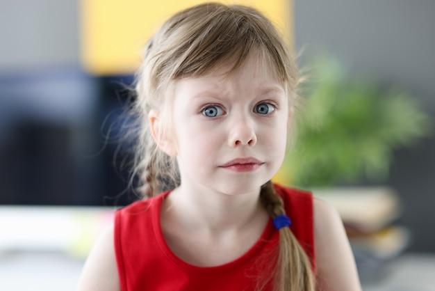 Retrato de uma menina emocional com olhar pensativo e assustado, medos e perguntas da infância