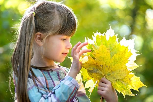 Retrato de uma menina feliz e bonita segurando um monte de folhas caídas de uma árvore na floresta de outono