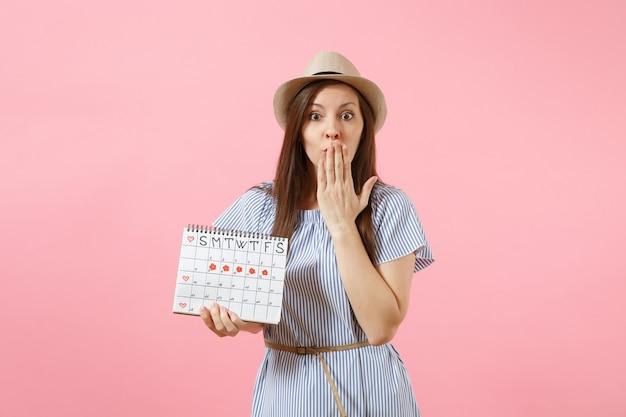 Retrato de uma mulher chocada em um vestido azul, chapéu segurando o calendário de períodos para verificar os dias de menstruação, isolados em um fundo rosa tendência brilhante. conceito médico, de saúde e ginecológico. copie o espaço