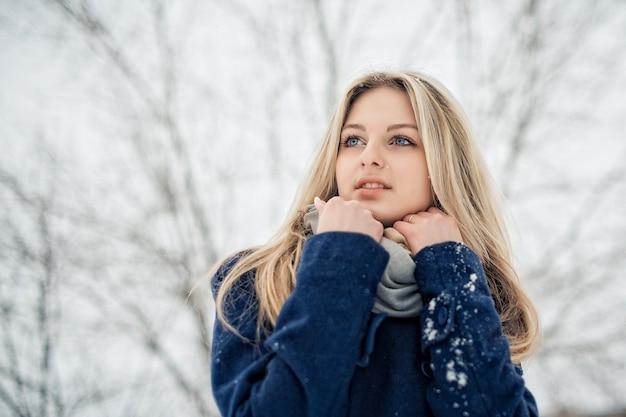 Retrato de uma mulher com maquiagem e um belo penteado no inverno