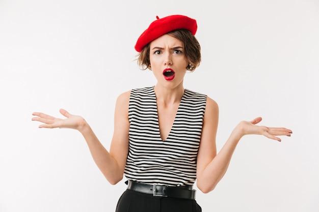 Retrato de uma mulher confusa, vestindo boina vermelha