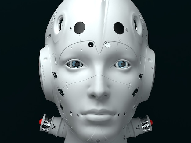 Retrato de uma mulher robô de perto