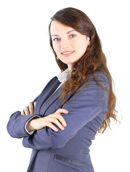 Retrato de uma senhora de negócios muito jovem sorrindo, isolado em um fundo branco.
