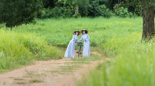 Retrato, de, vietnamita, menina, vestido tradicional