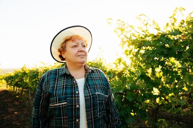 Retrato do enólogo agricultor mulher de uma mulher idosa com chapéu na cabeça está de pé no campo vi ...