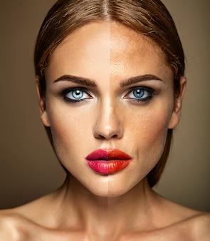 Retrato do modelo de mulher bonita, antes e depois do retoque