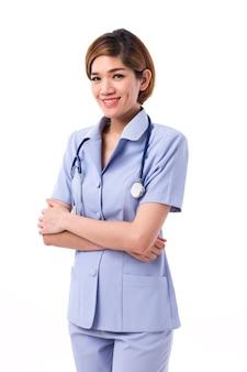 Retrato enfermeira feminina de uniforme