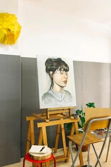 Retrato feminino no cavalete