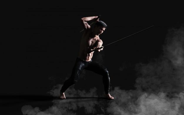 Retrato humano, de, um, bonito, muscular, antigo guerreiro, com, um, espada, com, caminho cortante