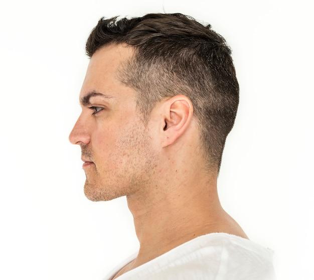 Retrato lateral, de, homem branco