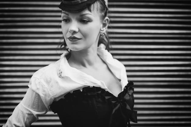 Retrato retrô preto e branco