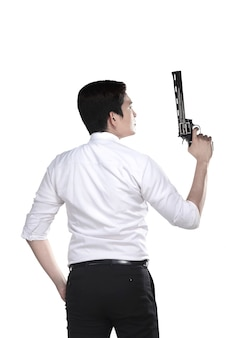 Retrato, srcret, agente, segurando, arma