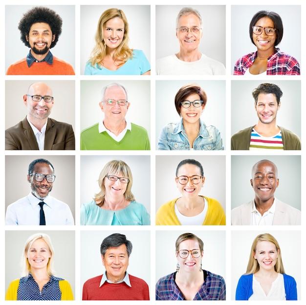 Retratos de pessoas coloridas e multiétnicas