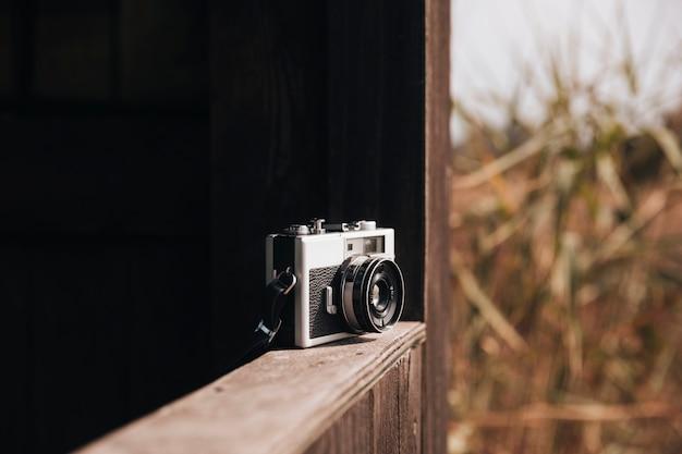 Retro, câmera foto, ligado, um, borda