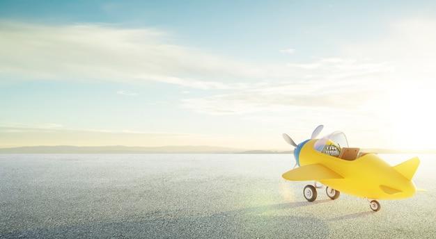 Retro fofo amarelo e azul avião de dois lugares estacionar na estrada de asfalto. cena de manhã. renderização 3d.