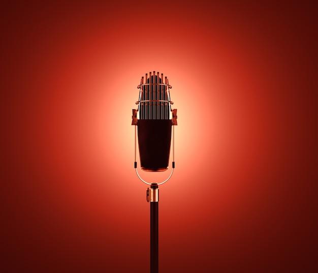 Retro mic viz na parede vermelha 3d render ilustração dourado vintage recorder visualização objeto