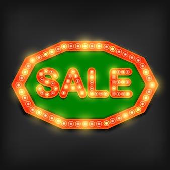 Retro, venda, sinal néon