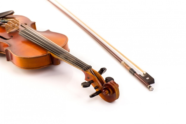 Retro violino vintage em branco