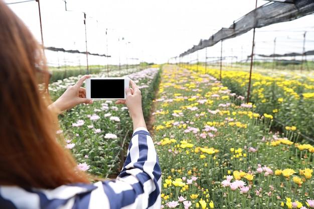 Retrovisor mulher asiática tirando foto de produtos de flores de crisântemo de telefone celular