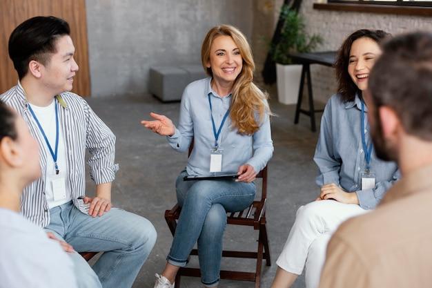 Reunião de aconselhamento com terapeuta