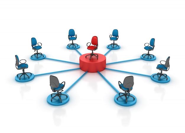 Reunião de cadeiras de escritório