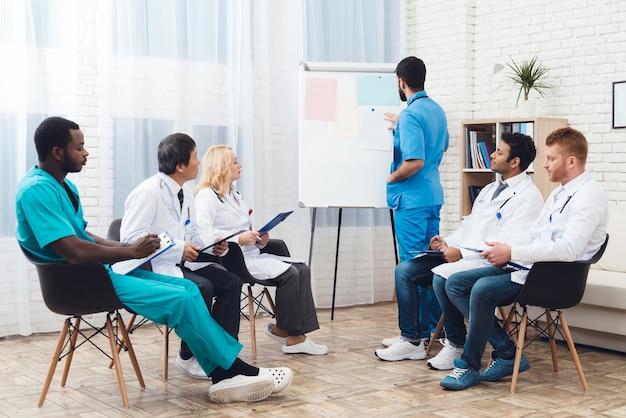 Reunião de diagnóstico do grupo multinacional de médicos.
