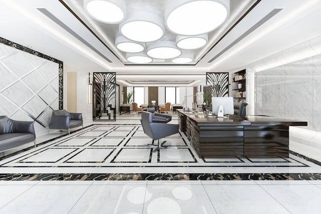 Reunião de negócios de luxo e sala de trabalho em escritório executivo