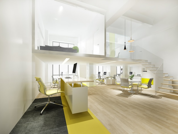Reunião de negócios de renderização 3d e sala de trabalho amarela com escada