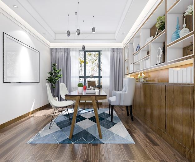 Reunião de negócios de renderização 3d e sala de trabalho em estilo vintage de escritório em casa