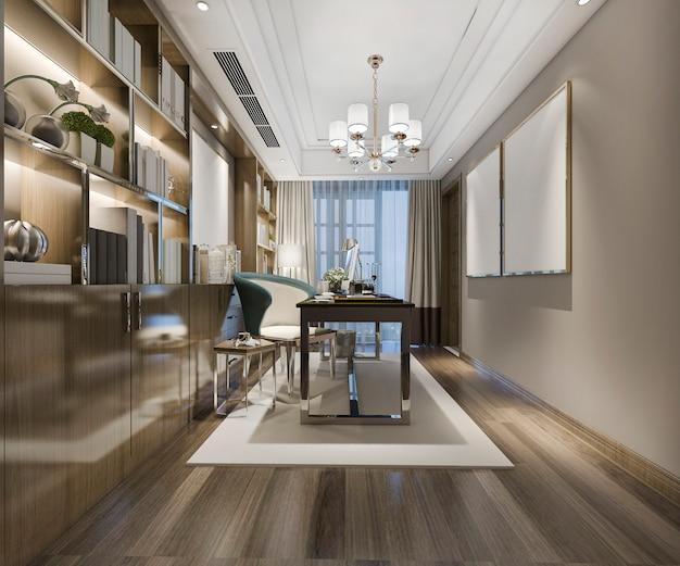 Reunião de negócios de renderização 3d e sala de trabalho no escritório em casa