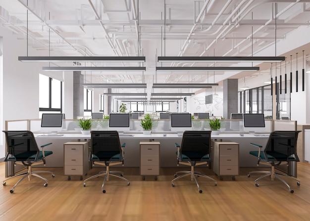 Reunião de negócios de renderização 3d e sala de trabalho no prédio de escritórios