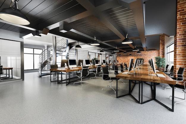 Reunião de negócios e sala de trabalho no armazém de escritório de estilo loft de indústria