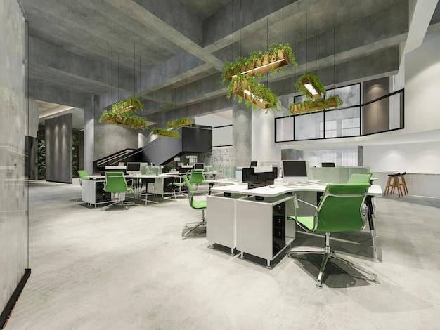 Reunião de negócios e sala de trabalho verde no prédio de escritórios