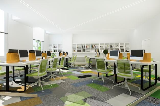 Reunião de negócios verde e sala de trabalho em prédio de escritórios com estante