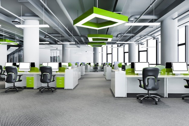 Reunião de negócios verde e sala de trabalho em prédio de escritórios
