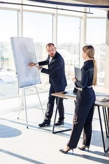Reuniões corporativas, organizações da equipe de negócios e planos de investimento no trabalho com novo projeto de inicialização com gráfico, gráfico e acessórios de negócios no local de trabalho.