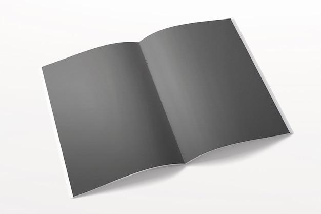 Revista aberta ou brochura isolada no branco. páginas em branco pretas.