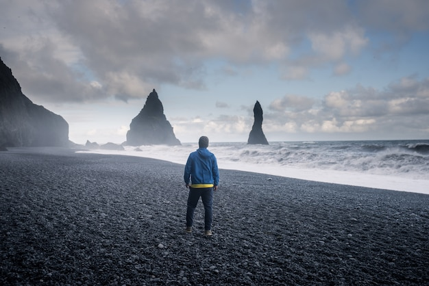 Reynisfjara black sand beach em vik, islândia
