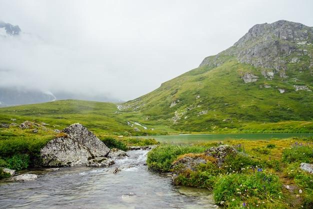 Riacho da montanha entre vegetação rica e rochas entre nuvens baixas