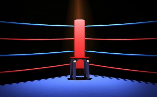 Ringue de boxe com cadeira na esquina, renderização em 3d