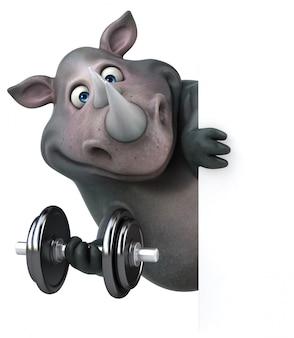 Rinoceronte divertido - ilustração 3d
