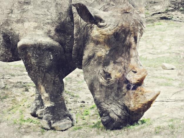 Rinoceronte. sumário da pintura a óleo de impasto da arte de digitas.