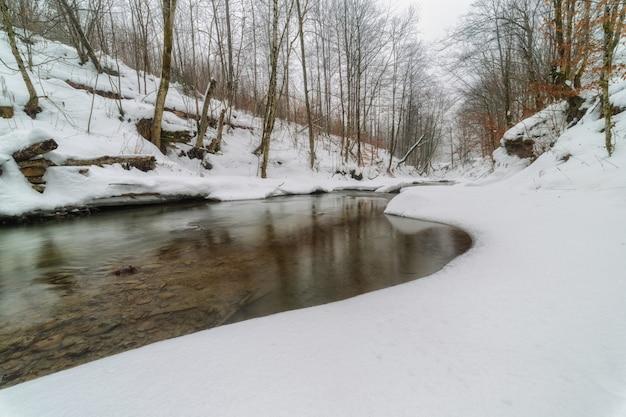 Rio de inverno nas montanhas dos cárpatos com margens cobertas de neve