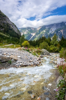 Rio de montanha no vale alpino do parque nacional de vanoise
