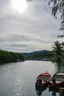 Rio klong chao na ilha de koh kood em trat tailândia. koh kood, também conhecido como ko kut, é uma ilha no golfo da tailândia