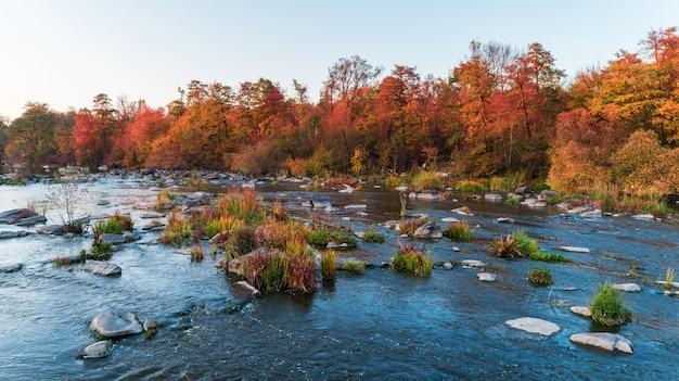 Rio limpo da montanha com pedras