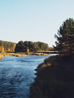 Rio no outono. o rio e a pitoresca floresta de outono. cenário natural rústico