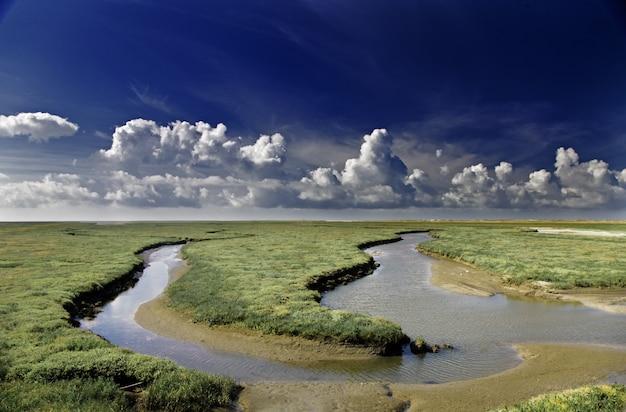 Rio passando por um campo coberto de grama com belas nuvens no céu