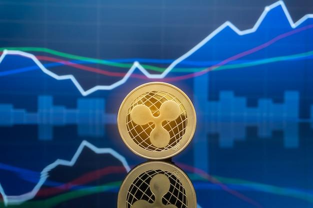Ripple e cryptocurrency conceito de investimento.